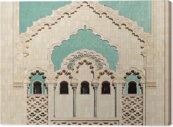 Lerretsbilde Marokko. Detalj av Hassan II-moskeen i Casablanca