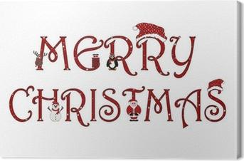 Lerretsbilde Merry Christmas Sign Med Animasjoner - Isolert På Hvitt