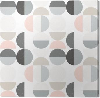 Lerretsbilde Moderne vektor abstrakt sømløs geometrisk mønster med halvsirkler og sirkler i retroskandinavisk stil