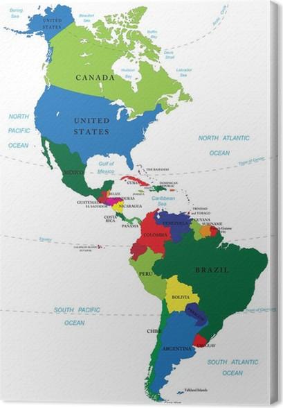 nord og sør amerika kart Lerretsbilde Nord og Sør Amerika kart • Pixers®   Vi lever for  nord og sør amerika kart