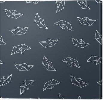Lerretsbilde Papirbåt sømløs mønster
