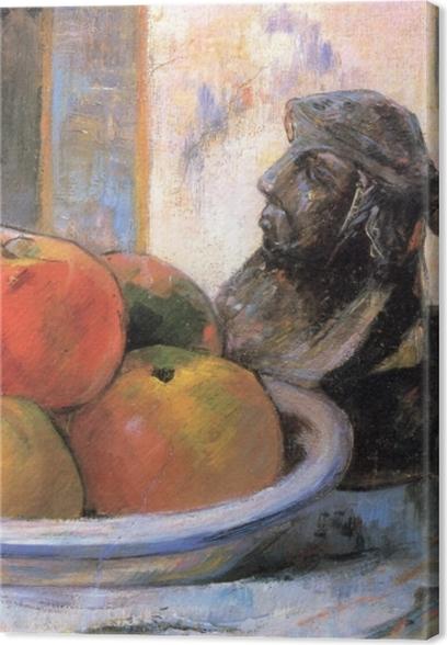 Lerretsbilde Paul Gauguin - Fortsatt liv med Apple, en pære og en keramisk Portrett Jug -