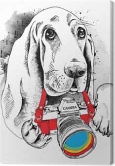 Lerretsbilde Plakaten med bildet av hunden med kameraet. vektor illustrasjon.