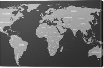 Lerretsbilde Politisk kart over verden