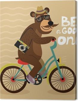 Lerretsbilder premium Hipster plakat med geek bjørn