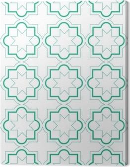 Lerretsbilder premium Marokkanske geometriske fliser sømløs mønster, vektor fliser design, grønn og hvit bakgrunn