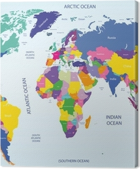 Lerretsbilder premium Verdens geografiske og politiske kart