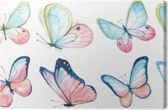 Lerretsbilde Samling akvarell av flygende sommerfugler.