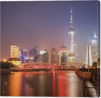 Lerretsbilde Shanghai hage bro om natten