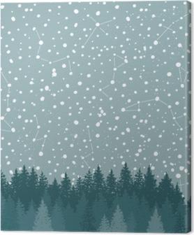 Lerretsbilde Skog og nattehimmel med stjerner vektor bakgrunn. space bakteppe.