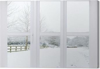Lerretsbilde Snø scene vindu