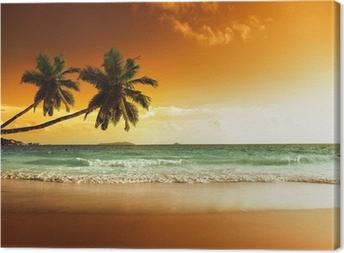 Lerretsbilde Solnedgang på stranden av karibisk hav