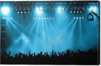 Lerretsbilde Stikkende publikum på konsert, musikere på scenen