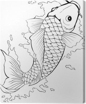 Lerretsbilde Svart og hvit koi fisk tatovering
