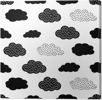 Lerretsbilde Svart og hvitt sømløs mønster med skyer. Søt baby shower vektor bakgrunn. Barn tegne stil illustrasjon.