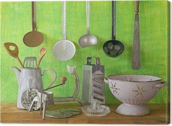Lerretsbilde Ulike vintage kjøkkenredskaper