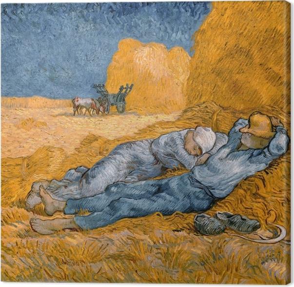 Lerretsbilde Vincent van Gogh - Noon, eller The Siesta, etter Millet - Reproductions