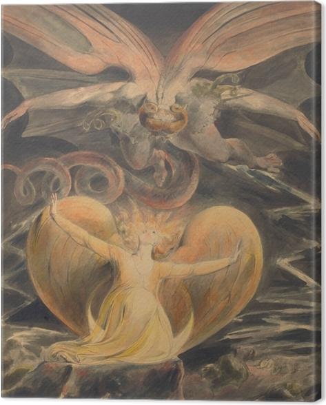 Lerretsbilde William Blake - The Great Red Dragon og kvinnen kledd i solen -