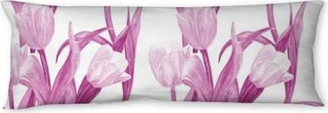 Lichaamskussen Mode naadloze textuur met mooie tulpen. aquarel schilderij