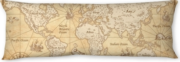 Lichaamskussen Vintage geïllustreerde wereldkaart