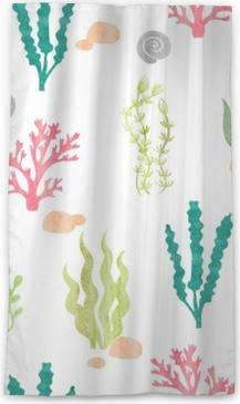 Lichtdurchlässiger Fenstervorhang Aquarell nahtlose Muster mit Korallen, Algen, Muscheln und Steinen. Unterwasseralgen. Vektor Aquarell marine Hintergrund.