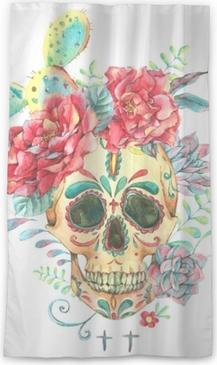 Lichtdurchlässiger Fenstervorhang Aquarellkarte mit Totenkopf und Rosen