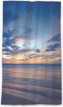 Lichtdurchlässiger Fenstervorhang Schöne Strandszene mit Meer- und Sonnenunterganghimmel