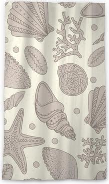 Lichtdurchlässiger Fenstervorhang Seeshells, Seesterne und nahtloser Hintergrund der Korallen. schäbiges nahtloses Muster der Weinlese für Gewebe, Druck, Tapete. Meereslebensmuster.