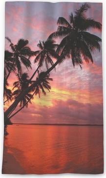 Lichtdurchlässiger Fenstervorhang Silhouette Palmen am Strand bei Sonnenuntergang, Ofu Insel, Tonga