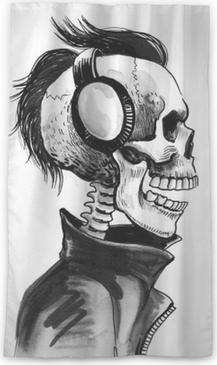Lichtdurchlässiger Fenstervorhang Skelett im Kopfhörer
