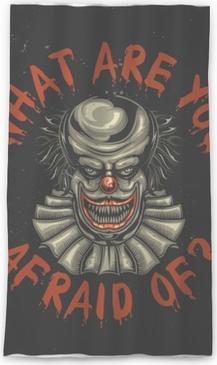 Lichtdurchlässiger Fenstervorhang T-Shirt- oder Plakatdesign mit Illustration des furchtsamen Clowns
