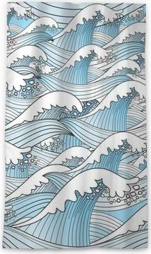 Lichtdurchlässiger Fenstervorhang Textur der Meereswellen
