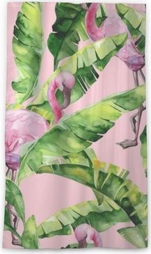 Lichtdurchlässiger Fenstervorhang Tropische Blätter, dichter Dschungel. Bananenpalme verlässt nahtlose Aquarellillustration von tropischen rosa Flamingovögeln. trendy Muster mit tropischem Sommerzeitmotiv. exotischer Hawaii-Kunsthintergrund.