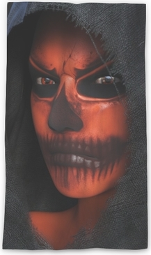 Lichtdurchlässiger Fenstervorhang Wiedergabe 3d eines Gesichtes mit Halloween-Kürbismake-up nr 2.