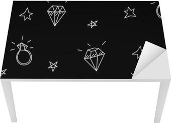 Masa Çıkartması Alyans, yıldızlar ve mücevherler ile Vektör sorunsuz desen. Eski okul dövme elemanları. Hipster tarzı