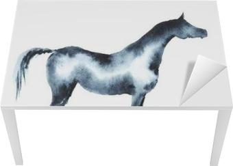 Masa Çıkartması El on white suluboya Arap atı boyalı.