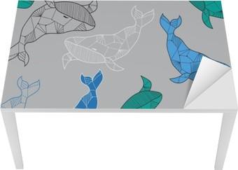 Masa Çıkartması Elle çizilmiş balinalar ile kesintisiz deniz desen