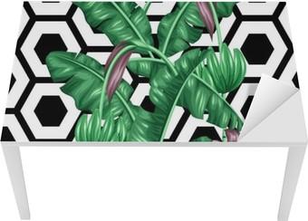 Masa Çıkartması Muz yaprakları ile sorunsuz desen. tropik bitki örtüsü, çiçek ve meyve dekoratif görüntü. Arkaplan maske kırpma olmadan. zemin için kullanımı kolay, tekstil, ambalaj kağıdı