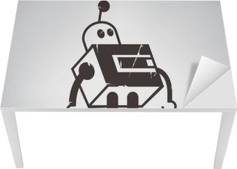 Masa Çıkartması Retro robot karikatür
