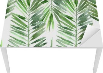 Masa Çıkartması Suluboya palmiye ağacı yaprağı dikişsiz