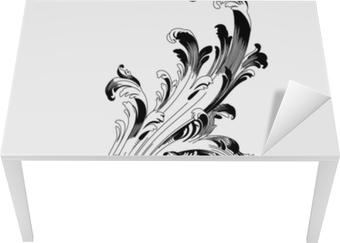 Masa Çıkartması Vintage Barok süsleme Retro desen antika stili akant. dekoratif tasarım öğesi telkari hat vektör. - hisse senedi vektör