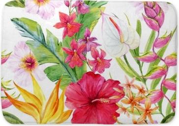 Mata łazienkowa Akwarela tropikalny wzór kwiatowy