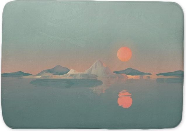 Mata łazienkowa Geometryczny krajobraz górski ze słońcem odbijającym się na wodzie - Krajobrazy