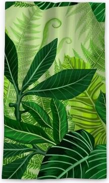 Mörkläggande fönstergardin Sömlöst mönster med tropiska palmblad