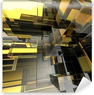 Mural de Parede em Vinil 3d abstract urban glass geometric background