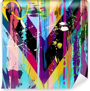 Mural de Parede em Vinil abstract background, with strokes, splashes and geometric lines