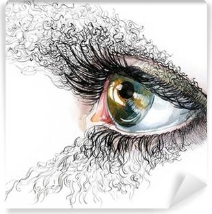 Mural de Parede em Vinil abstract human eyes