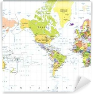 Mural de Parede em Vinil América Centrado Mapa Político Mundial isolado no branco