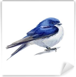 mural de parede ilustração da aguarela desenhada à mão do passarinho