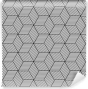Mural de Parede Autoadesivo Padrão geométrico sem emenda com cubos.